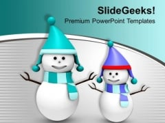 Snowmen Wearing Hats Winter Background PowerPoint Templates Ppt Backgrounds For Slides 1212