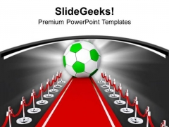 Soccer Ball On The Red Carpet Game PowerPoint Templates Ppt Backgrounds For Slides 0713