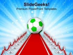 Soccer Ball On The Red Carpet PowerPoint Templates Ppt Backgrounds For Slides 0713