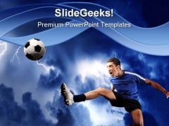 Soccer Player Sports PowerPoint Template 0810