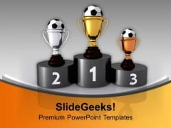 Soccer Trophies On Podium Competition PowerPoint Templates Ppt Background For Slides 1112