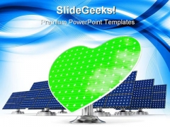 Solar Panels Green Heart Technology PowerPoint Templates And PowerPoint Backgrounds 0211