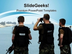 Soldiers On Watch Security PowerPoint Themes And PowerPoint Slides 0811