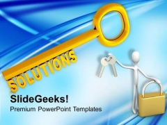 Solution Key Symbol For Success PowerPoint Templates Ppt Backgrounds For Slides 0213