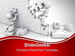 Solving Jigsaw Puzzle Business PowerPoint Templates And PowerPoint Backgrounds 0811