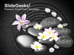 Spa Massage Stones With Flowers On Beautiful PowerPoint Templates Ppt Backgrounds For Slides 0113