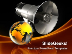 Speaking To The World Globe PowerPoint Themes And PowerPoint Slides 0211
