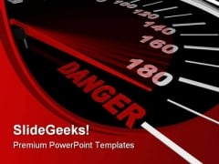 Speedometer Shows Danger Travel PowerPoint Themes And PowerPoint Slides 0411