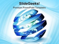 Spiral Planet Globe PowerPoint Template 1110