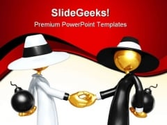 Spy Games Handshake PowerPoint Themes And PowerPoint Slides 0811