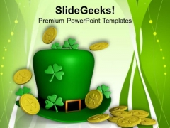 St Patricks Day Leprechaun Hat With Shamrock PowerPoint Templates Ppt Backgrounds For Slides 0313
