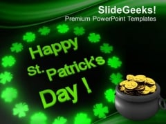 St Patricks Day Pot Of Gold Coins PowerPoint Templates Ppt Backgrounds For Slides 0213