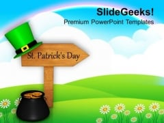St Patricks Day Signpost Festival PowerPoint Templates Ppt Backgrounds For Slides 0213