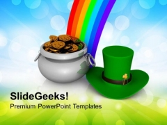 St Patricks Day With Rainbow Holidays PowerPoint Templates Ppt Backgrounds For Slides 0313