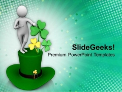 St Patricks Day With Shamrock Holiday PowerPoint Templates Ppt Backgrounds For Slides 0313