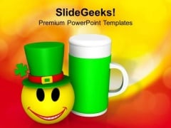 St Patricks Feast Day Celebration With Smiley PowerPoint Templates Ppt Backgrounds For Slides 0213