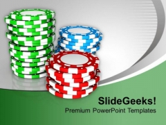 Stack Of Casino Chips Vector Wealth PowerPoint Templates Ppt Backgrounds For Slides 0313