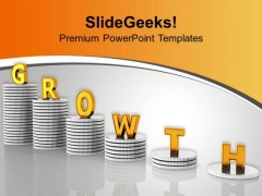 Stack Of Coins Financial Growth PowerPoint Templates Ppt Backgrounds For Slides 0213