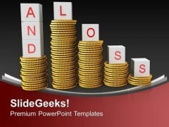 Stack Of Coins With Loss And Profit Finance PowerPoint Templates Ppt Backgrounds For Slides 0213