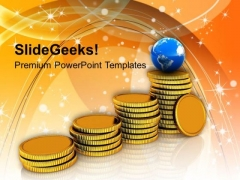 Stack Of Golden Coins Global Business PowerPoint Templates Ppt Backgrounds For Slides 0113