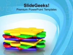 Stack Of Jigsaw Puzzles Solution Concept PowerPoint Templates Ppt Backgrounds For Slides 0413