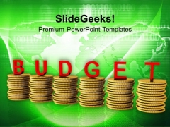 Stacks Of Golden Coins And Budget PowerPoint Templates Ppt Backgrounds For Slides 0713