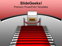 Stairs With Red Carpet Winner Concept PowerPoint Templates Ppt Backgrounds For Slides 0213