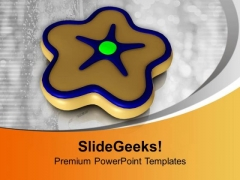 Star Shaped Cookie Brown Color Candy PowerPoint Templates Ppt Backgrounds For Slides 0113