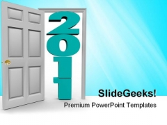 Stepping Through Door Metaphor PowerPoint Themes And PowerPoint Slides 0611