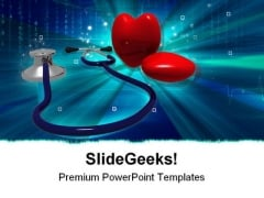 Stethoscope Heart Medical PowerPoint Template 1110