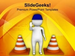 Stop Road Under Construction PowerPoint Templates Ppt Backgrounds For Slides 0713