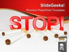 Stop Smoking Health PowerPoint Templates And PowerPoint Backgrounds 0811