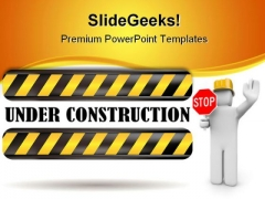 Stop Under Construction PowerPoint Themes And PowerPoint Slides 0811
