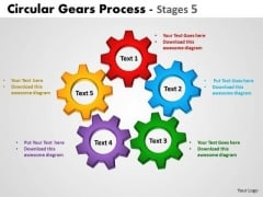 Strategic Management Circular Gears Process Stages 5 Business Diagram