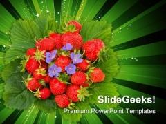 Strawberries Food PowerPoint Template 0810