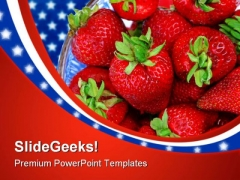 Strawberries On Flag Americana PowerPoint Templates And PowerPoint Backgrounds 0211
