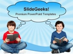 Student Thinking With A Book Education PowerPoint Themes And PowerPoint Slides 0311