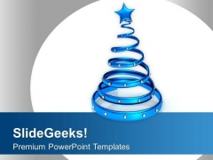 Stylish Blue Ring Christmas Decoration PowerPoint Templates Ppt Backgrounds For Slides 0113