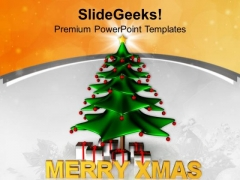Stylized Christmas Tree With Gifts Holidays PowerPoint Templates Ppt Backgrounds For Slides 1112