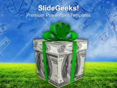 Success In Business With Dollar Bills As Gift PowerPoint Templates Ppt Backgrounds For Slides 0313