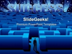 Success Maze Business PowerPoint Backgrounds And Templates 0111