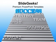 Success On Stairs With Strategy PowerPoint Templates Ppt Backgrounds For Slides 0313