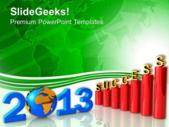 Successful Business Graph Growth New Year PowerPoint Templates Ppt Backgrounds For Slides 1212