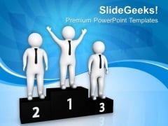 Successful Team On Winners Podium PowerPoint Templates Ppt Backgrounds For Slides 0713