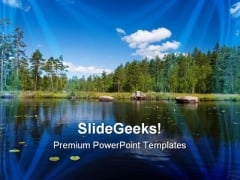 Summer Forest Lake Beach PowerPoint Themes And PowerPoint Slides 0611