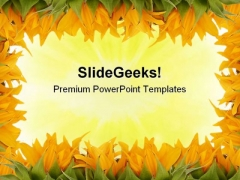 Sunflower Border Beauty PowerPoint Templates And PowerPoint Backgrounds 0511