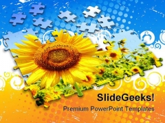 Sunflower Puzzle Background Beauty PowerPoint Themes And PowerPoint Slides 0411