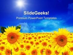 Sunflowers01 Beauty Garden PowerPoint Template 1110