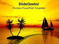 Sunset At Beach Nature PowerPoint Themes And PowerPoint Slides 0711