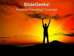Sunset Freedom Youth PowerPoint Templates And PowerPoint Backgrounds 0811